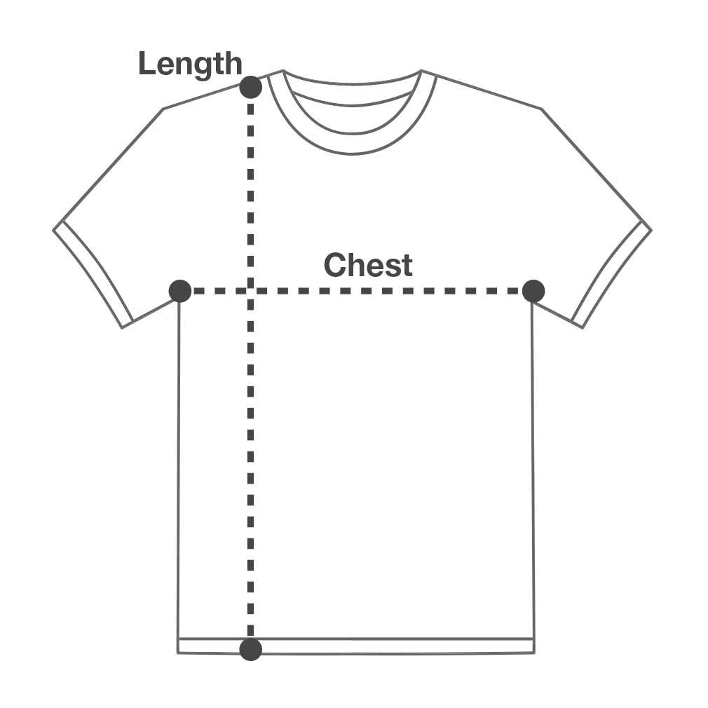 Blue Unicorn T-shirt Size Chart